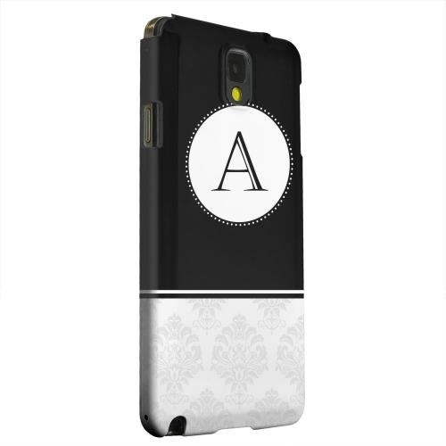 Geeks Designer Line (GDL) Samsung Galaxy Note 3 Matte Hard Back Cover - Black Monogram A w/ White Damask Design