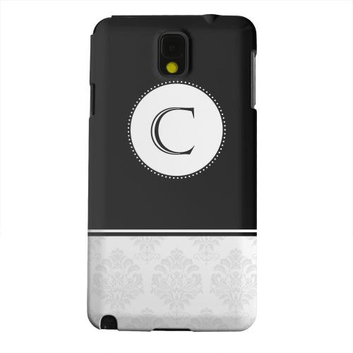 Geeks Designer Line (GDL) Samsung Galaxy Note 3 Matte Hard Back Cover - Black Monogram C w/ White Damask Design