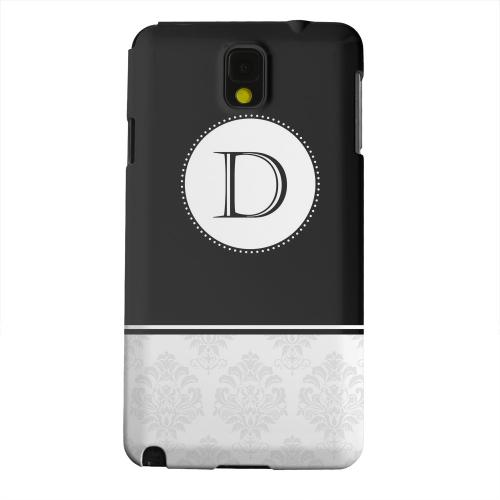 Geeks Designer Line (GDL) Samsung Galaxy Note 3 Matte Hard Back Cover - Black Monogram D w/ White Damask Design