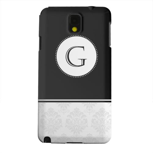 Geeks Designer Line (GDL) Samsung Galaxy Note 3 Matte Hard Back Cover - Black Monogram G w/ White Damask Design