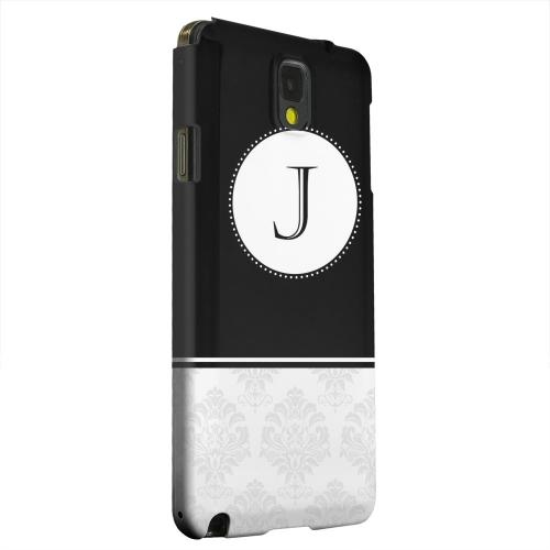 Geeks Designer Line (GDL) Samsung Galaxy Note 3 Matte Hard Back Cover - Black Monogram J w/ White Damask Design