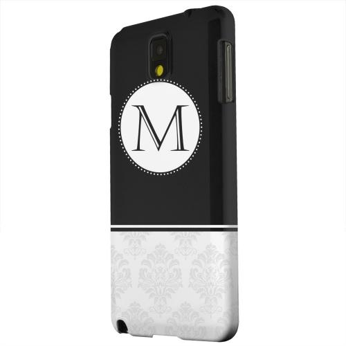 Geeks Designer Line (GDL) Samsung Galaxy Note 3 Matte Hard Back Cover - Black Monogram M w/ White Damask Design