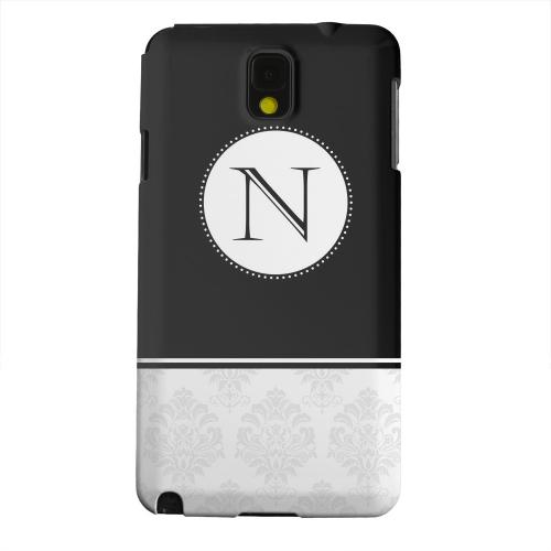 Geeks Designer Line (GDL) Samsung Galaxy Note 3 Matte Hard Back Cover - Black Monogram N w/ White Damask Design