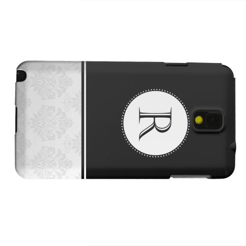 Geeks Designer Line (GDL) Samsung Galaxy Note 3 Matte Hard Back Cover - Black Monogram R w/ White Damask Design