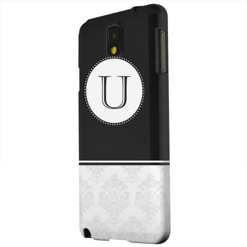 Geeks Designer Line (GDL) Samsung Galaxy Note 3 Matte Hard Back Cover - Black Monogram U w/ White Damask Design
