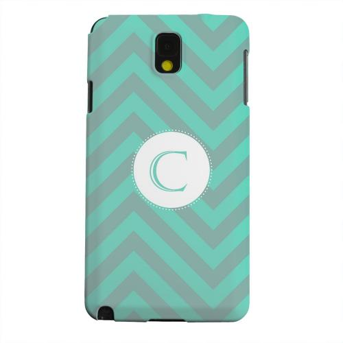 Geeks Designer Line (GDL) Samsung Galaxy Note 3 Matte Hard Back Cover - Seafoam Green Monogram C on Zig Zags
