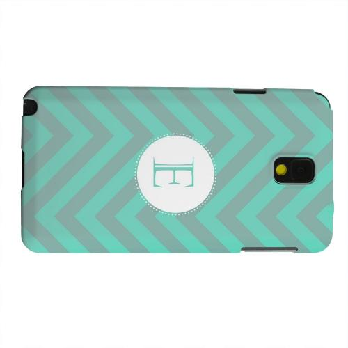 Geeks Designer Line (GDL) Samsung Galaxy Note 3 Matte Hard Back Cover - Seafoam Green Monogram E on Zig Zags