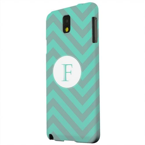 Geeks Designer Line (GDL) Samsung Galaxy Note 3 Matte Hard Back Cover - Seafoam Green Monogram F on Zig Zags