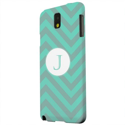 Geeks Designer Line (GDL) Samsung Galaxy Note 3 Matte Hard Back Cover - Seafoam Green Monogram J on Zig Zags