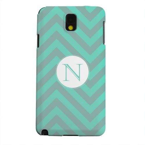 Geeks Designer Line (GDL) Samsung Galaxy Note 3 Matte Hard Back Cover - Seafoam Green Monogram N on Zig Zags