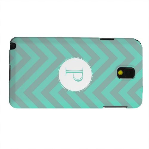 Geeks Designer Line (GDL) Samsung Galaxy Note 3 Matte Hard Back Cover - Seafoam Green Monogram P on Zig Zags
