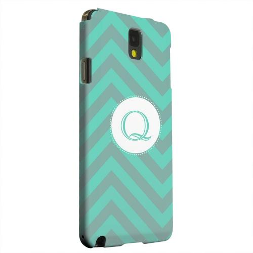 Geeks Designer Line (GDL) Samsung Galaxy Note 3 Matte Hard Back Cover - Seafoam Green Monogram Q on Zig Zags