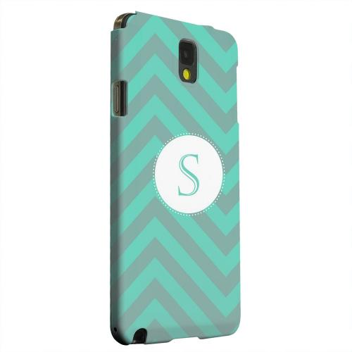 Geeks Designer Line (GDL) Samsung Galaxy Note 3 Matte Hard Back Cover - Seafoam Green Monogram S on Zig Zags