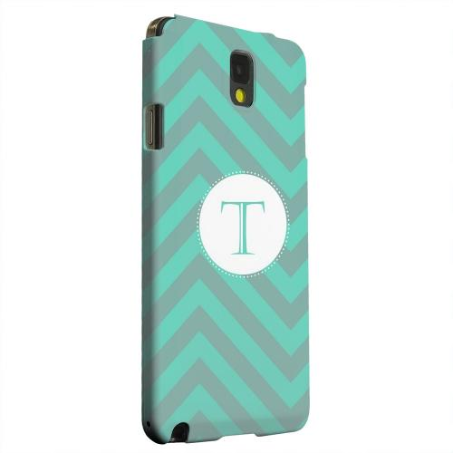 Geeks Designer Line (GDL) Samsung Galaxy Note 3 Matte Hard Back Cover - Seafoam Green Monogram T on Zig Zags