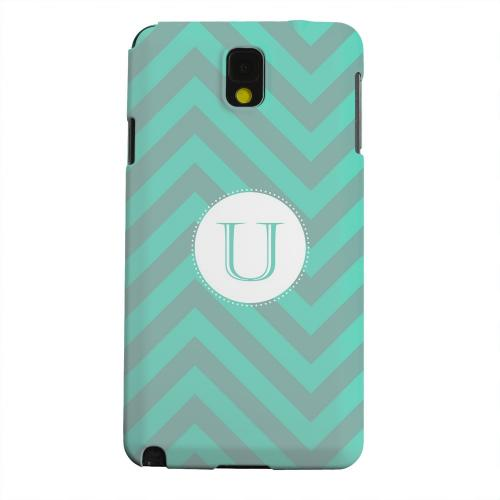 Geeks Designer Line (GDL) Samsung Galaxy Note 3 Matte Hard Back Cover - Seafoam Green Monogram U on Zig Zags