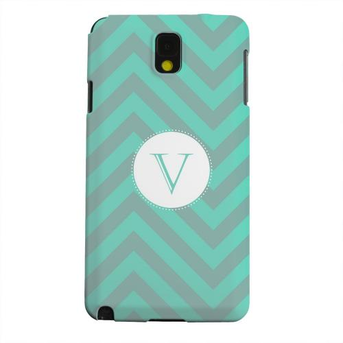 Geeks Designer Line (GDL) Samsung Galaxy Note 3 Matte Hard Back Cover - Seafoam Green Monogram V on Zig Zags
