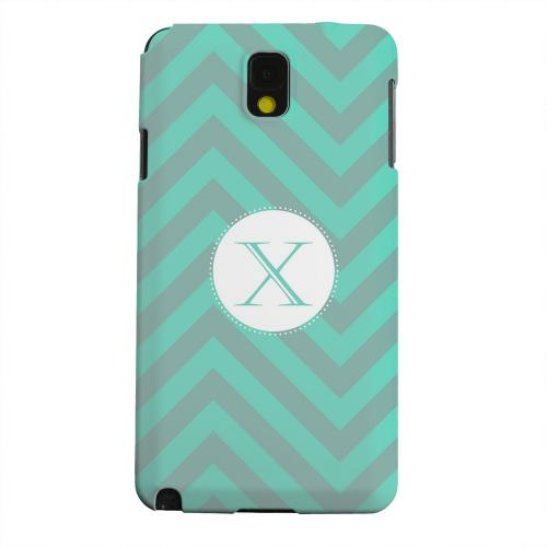 Geeks Designer Line (GDL) Samsung Galaxy Note 3 Matte Hard Back Cover - Seafoam Green Monogram X on Zig Zags