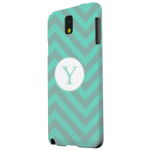 Geeks Designer Line (GDL) Samsung Galaxy Note 3 Matte Hard Back Cover - Seafoam Green Monogram Y on Zig Zags