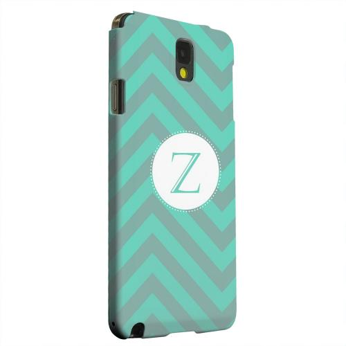 Geeks Designer Line (GDL) Samsung Galaxy Note 3 Matte Hard Back Cover - Seafoam Green Monogram Z on Zig Zags