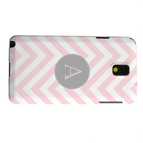 Geeks Designer Line (GDL) Samsung Galaxy Note 3 Matte Hard Back Cover - Gray Button Monogram A on Pale Pink Zig Zags