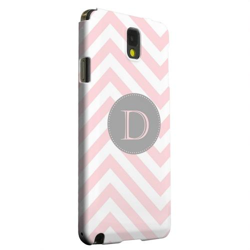 Geeks Designer Line (GDL) Samsung Galaxy Note 3 Matte Hard Back Cover - Gray Button Monogram D on Pale Pink Zig Zags