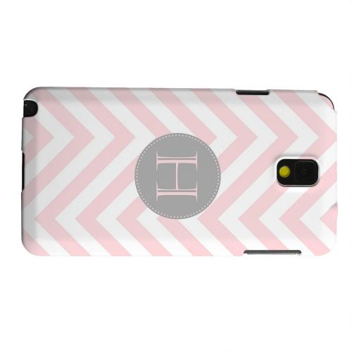 Geeks Designer Line (GDL) Samsung Galaxy Note 3 Matte Hard Back Cover - Gray Button Monogram H on Pale Pink Zig Zags