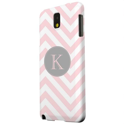 Geeks Designer Line (GDL) Samsung Galaxy Note 3 Matte Hard Back Cover - Gray Button Monogram K on Pale Pink Zig Zags