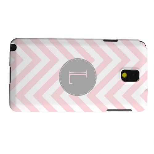 Geeks Designer Line (GDL) Samsung Galaxy Note 3 Matte Hard Back Cover - Gray Button Monogram L on Pale Pink Zig Zags