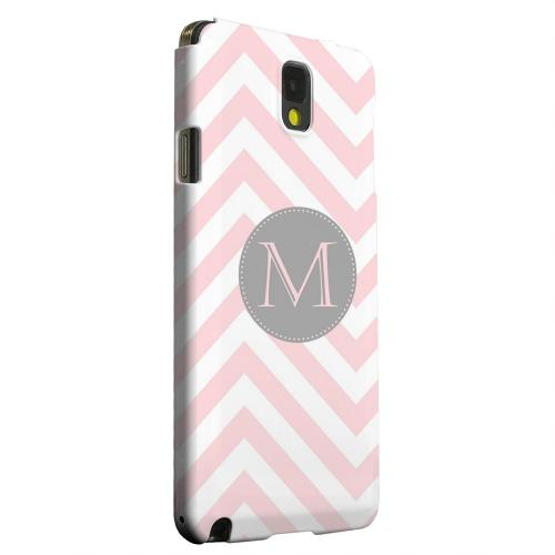 Geeks Designer Line (GDL) Samsung Galaxy Note 3 Matte Hard Back Cover - Gray Button Monogram M on Pale Pink Zig Zags