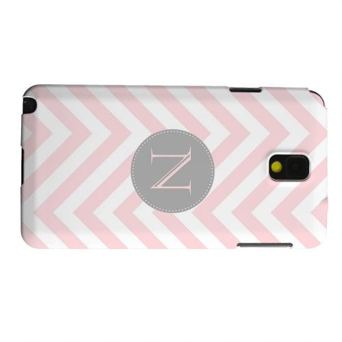 Geeks Designer Line (GDL) Samsung Galaxy Note 3 Matte Hard Back Cover - Gray Button Monogram N on Pale Pink Zig Zags