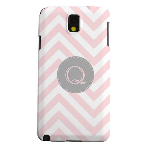 Geeks Designer Line (GDL) Samsung Galaxy Note 3 Matte Hard Back Cover - Gray Button Monogram Q on Pale Pink Zig Zags