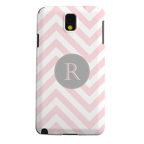 Geeks Designer Line (GDL) Samsung Galaxy Note 3 Matte Hard Back Cover - Gray Button Monogram R on Pale Pink Zig Zags