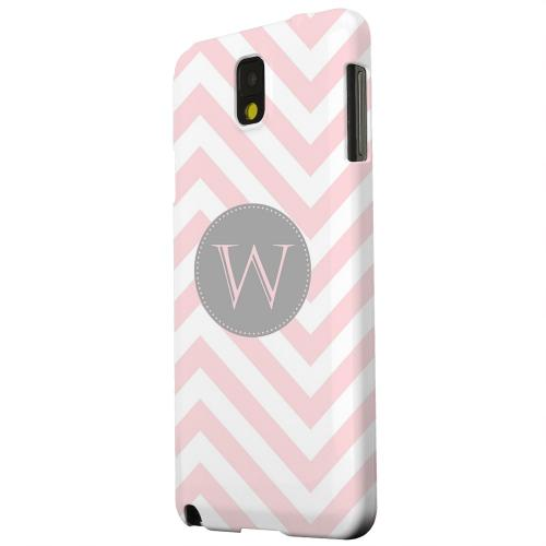 Geeks Designer Line (GDL) Samsung Galaxy Note 3 Matte Hard Back Cover - Gray Button Monogram W on Pale Pink Zig Zags
