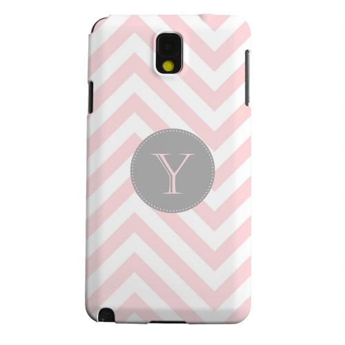 Geeks Designer Line (GDL) Samsung Galaxy Note 3 Matte Hard Back Cover - Gray Button Monogram Y on Pale Pink Zig Zags