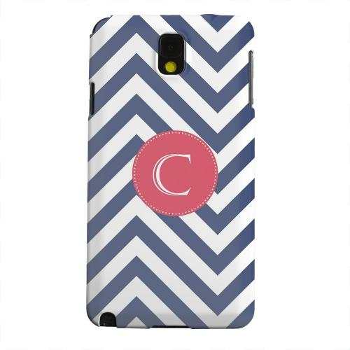 Geeks Designer Line (GDL) Samsung Galaxy Note 3 Matte Hard Back Cover - Cherry Button Monogram C on Navy Blue Zig Zags
