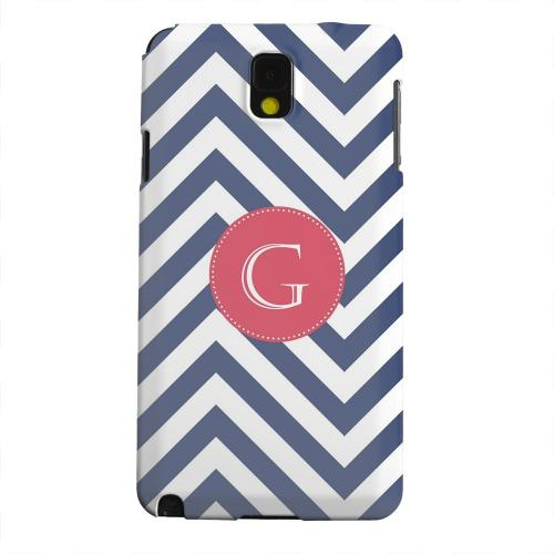 Geeks Designer Line (GDL) Samsung Galaxy Note 3 Matte Hard Back Cover - Cherry Button Monogram G on Navy Blue Zig Zags