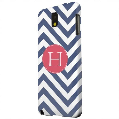 Geeks Designer Line (GDL) Samsung Galaxy Note 3 Matte Hard Back Cover - Cherry Button Monogram H on Navy Blue Zig Zags