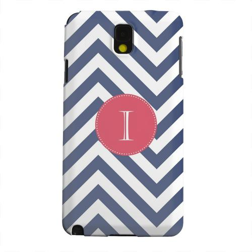 Geeks Designer Line (GDL) Samsung Galaxy Note 3 Matte Hard Back Cover - Cherry Button Monogram I on Navy Blue Zig Zags