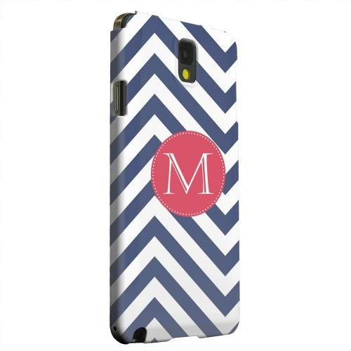 Geeks Designer Line (GDL) Samsung Galaxy Note 3 Matte Hard Back Cover - Cherry Button Monogram M on Navy Blue Zig Zags