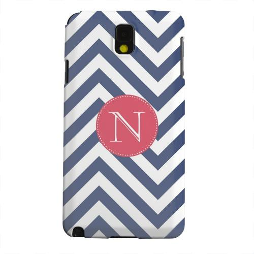 Geeks Designer Line (GDL) Samsung Galaxy Note 3 Matte Hard Back Cover - Cherry Button Monogram N on Navy Blue Zig Zags