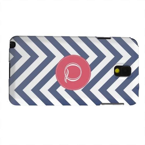 Geeks Designer Line (GDL) Samsung Galaxy Note 3 Matte Hard Back Cover - Cherry Button Monogram Q on Navy Blue Zig Zags