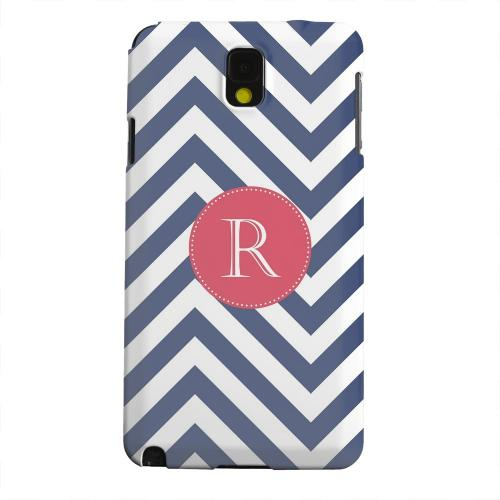Geeks Designer Line (GDL) Samsung Galaxy Note 3 Matte Hard Back Cover - Cherry Button Monogram R on Navy Blue Zig Zags
