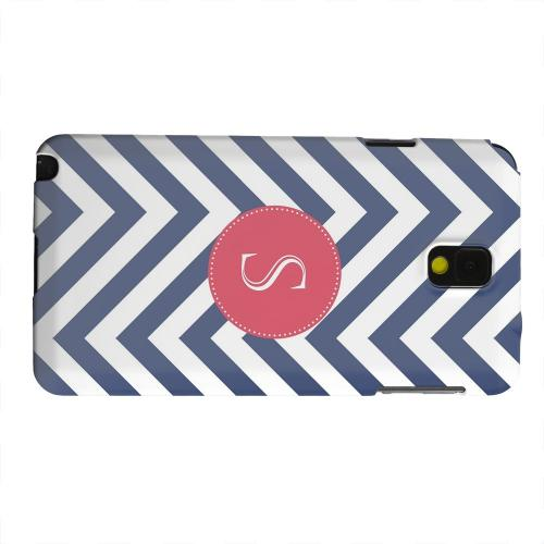 Geeks Designer Line (GDL) Samsung Galaxy Note 3 Matte Hard Back Cover - Cherry Button Monogram S on Navy Blue Zig Zags