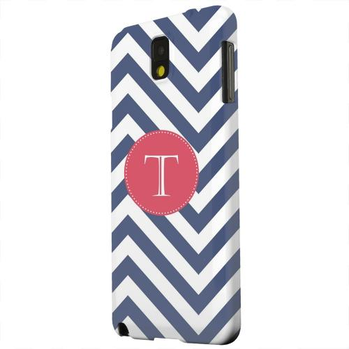 Geeks Designer Line (GDL) Samsung Galaxy Note 3 Matte Hard Back Cover - Cherry Button Monogram T on Navy Blue Zig Zags