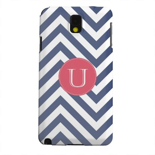 Geeks Designer Line (GDL) Samsung Galaxy Note 3 Matte Hard Back Cover - Cherry Button Monogram U on Navy Blue Zig Zags