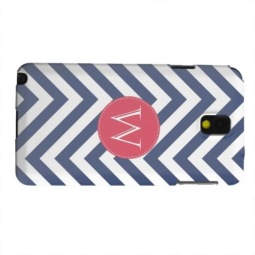 Geeks Designer Line (GDL) Samsung Galaxy Note 3 Matte Hard Back Cover - Cherry Button Monogram W on Navy Blue Zig Zags