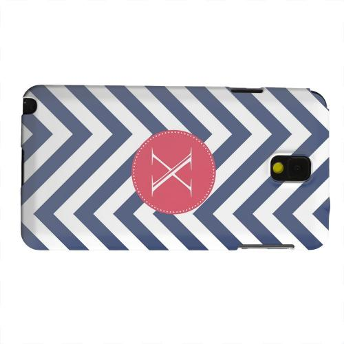 Geeks Designer Line (GDL) Samsung Galaxy Note 3 Matte Hard Back Cover - Cherry Button Monogram X on Navy Blue Zig Zags