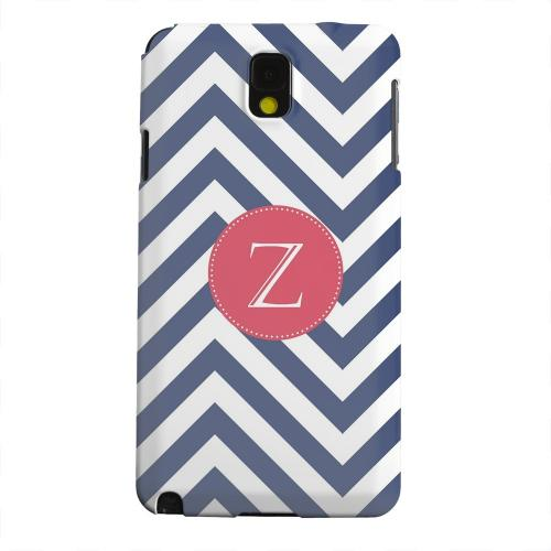 Geeks Designer Line (GDL) Samsung Galaxy Note 3 Matte Hard Back Cover - Cherry Button Monogram Z on Navy Blue Zig Zags