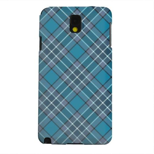 Geeks Designer Line (GDL) Samsung Galaxy Note 3 Matte Hard Back Cover - Dark Aqua/ White Plaid