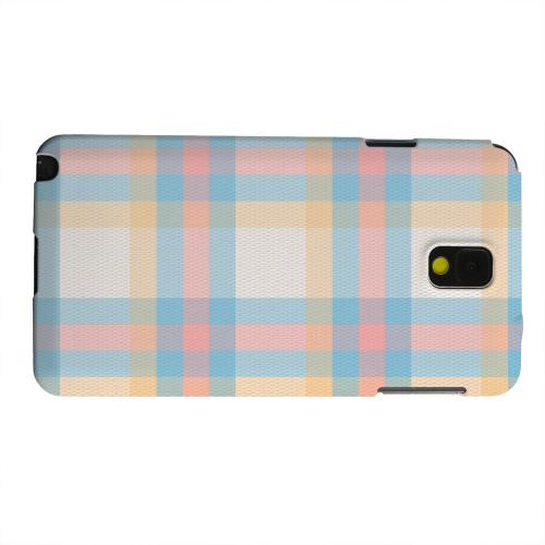 Geeks Designer Line (GDL) Samsung Galaxy Note 3 Matte Hard Back Cover - Blue/ Pink/ Orange Plaid Fabric